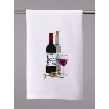 Wine Bottles and Corkscrew Kitchen Towel