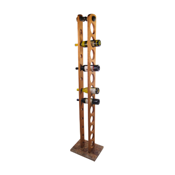 Granite and Cherry Wood Floor Wine Rack