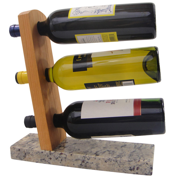 Granite and Cherry Wood Table Wine Rack