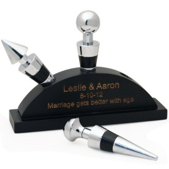 Engraved Wine Stoppers With Personalized Stand