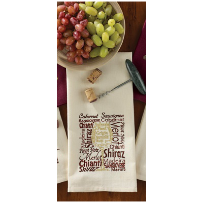Types Of Wine Embroidered Dishtowel