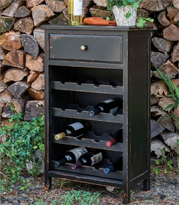 16 Bottle Black Wine Cabinet