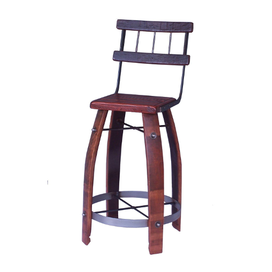 """2 Day Designs Wood Stave Bar Stool with Backrest, 28"""""""
