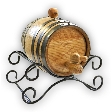 Wrought Iron Oak Barrel Stand (1 & 2 Liter)