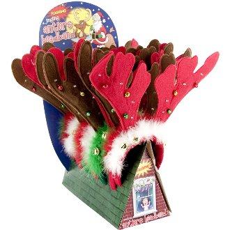 Flashing Jingling Holiday Antlers Headband
