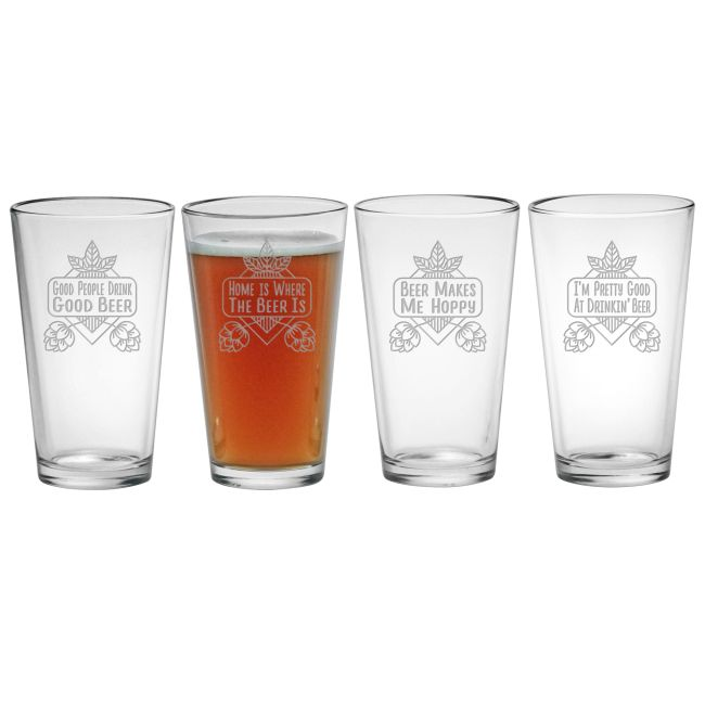 Good Beer Assorted Etched Pint Glasses