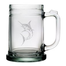 Marlin Tankard Beer Mugs, 15Oz,  Etched Glass Beer Mug Set