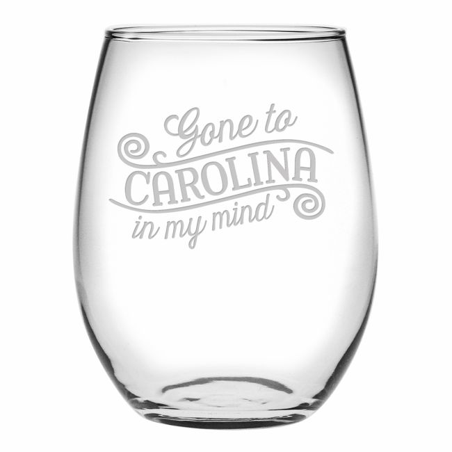 Gone to Carolina Wine Glasses