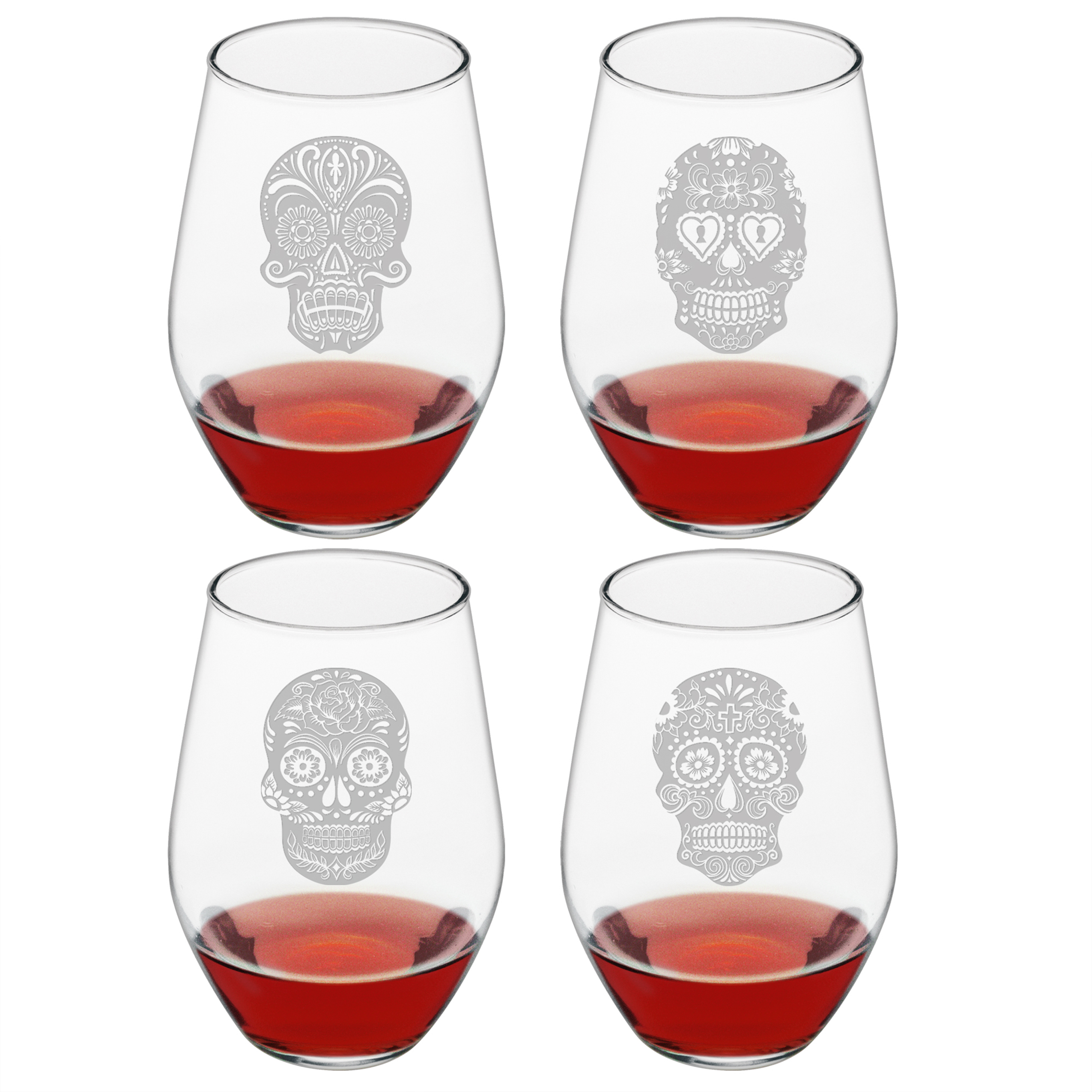 Dia De Los Muertos Stemless Wine Glasses