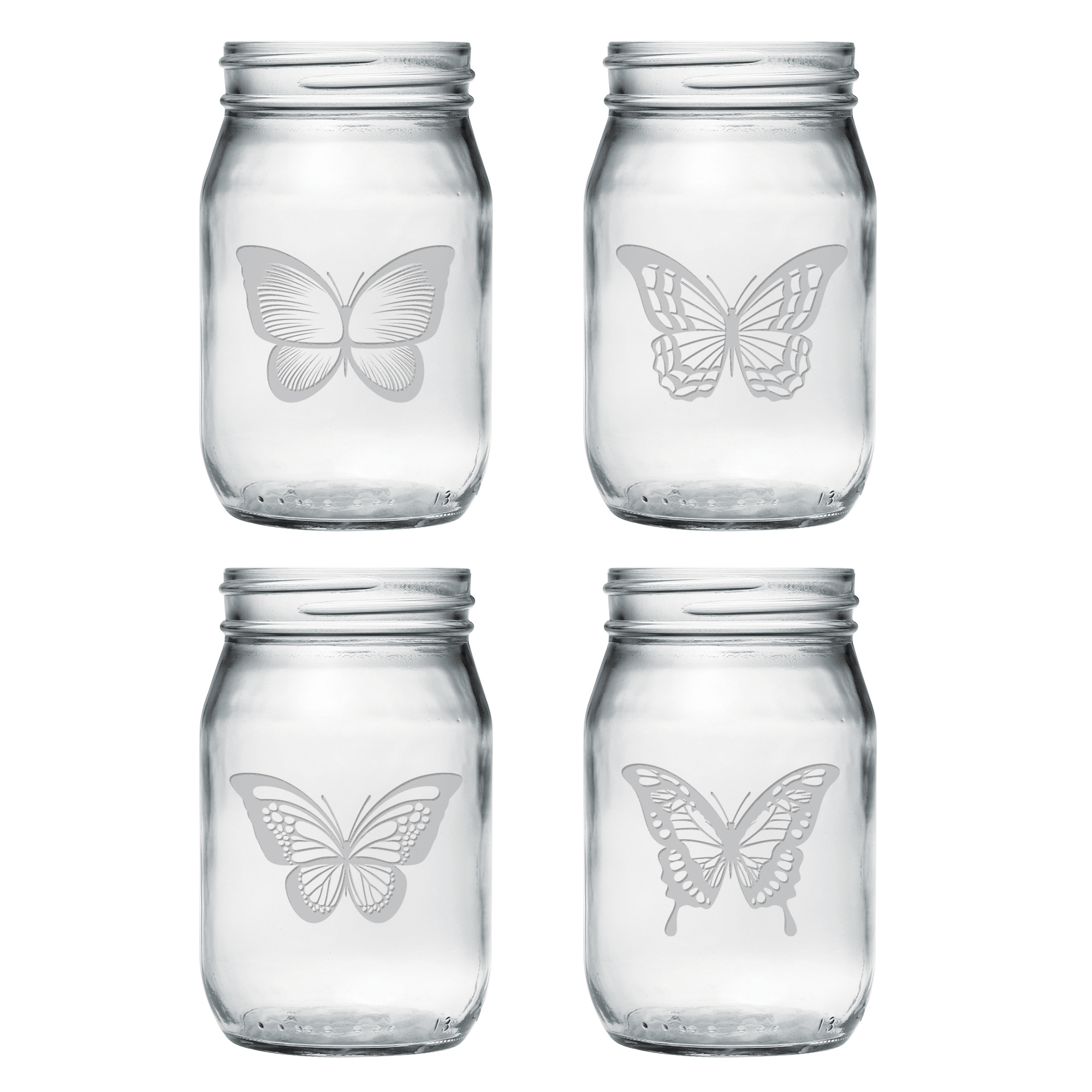 Butterfly Mason Jar Glasses