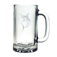 Marlin Pub Beer Mugs, 16Oz, Etched Glass Beer Mug Set