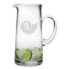 Nautilus Shell Etched Tankard Pitcher