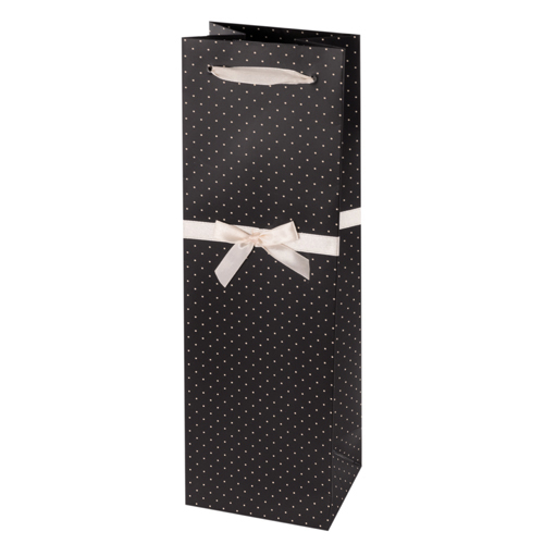 Elegant Black and White Wine Bag