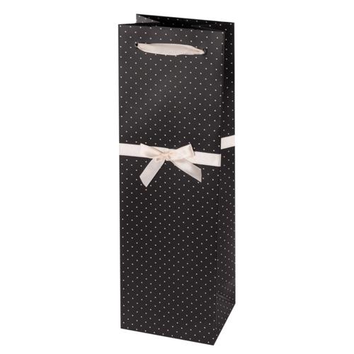 Elegant Black and White Wine Bag