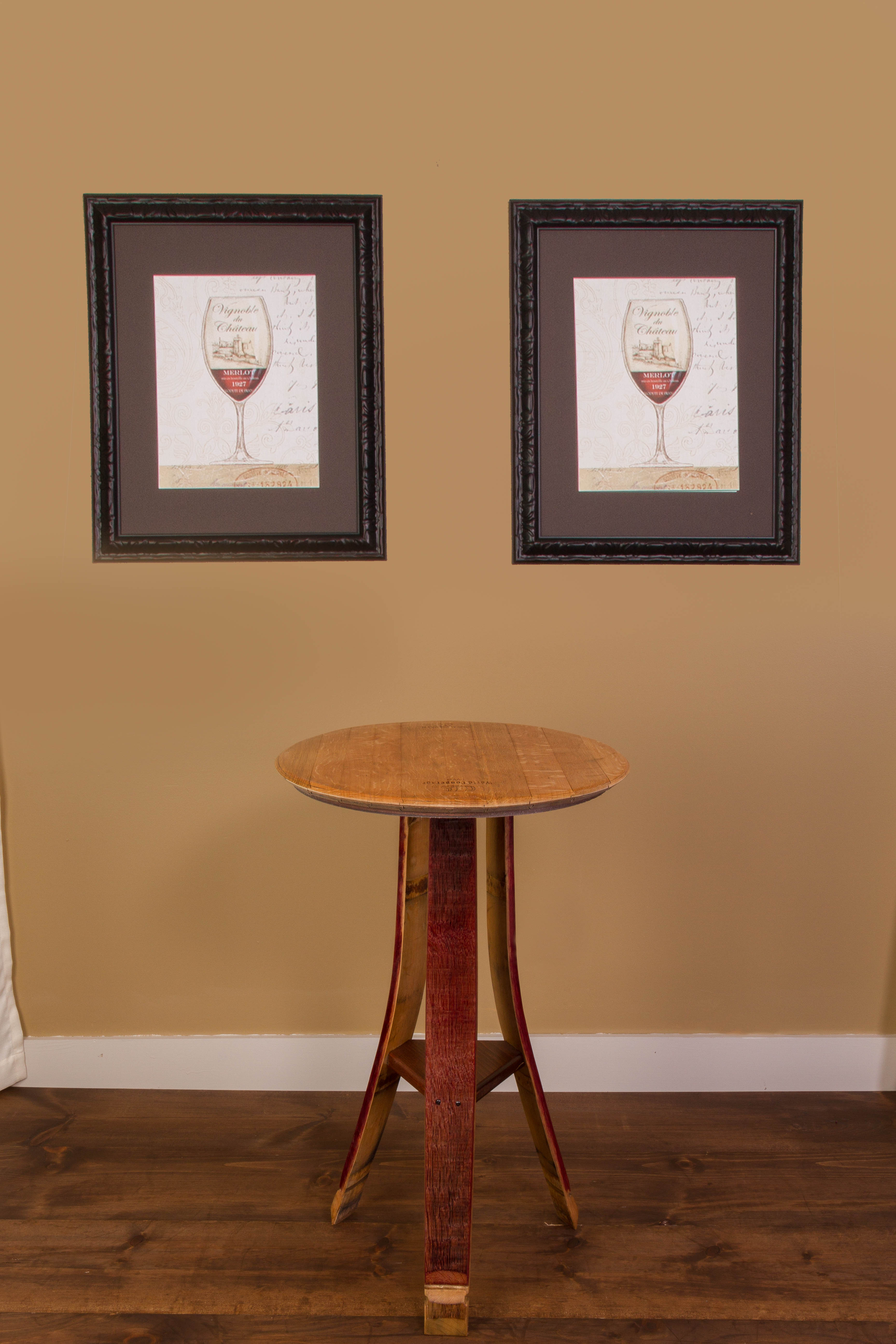 Wine Barrel Tasting Table with Shelf