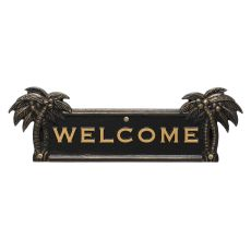 Palm Tree Welcome Plaque, Black / Gold