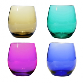Multi Colored Plastic Stemless Wine Glasses (set of 4)