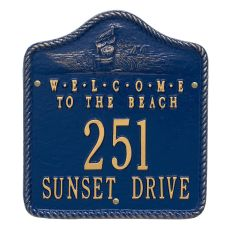 Personalized Welcome To The Beach Plaque, Blue / Gold