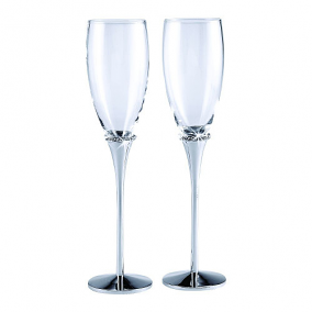 Satin Flutes with Crystal Accents (set of 2)