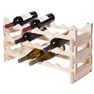 18 Bottle Stackable Wooden Wine Rack - Natural