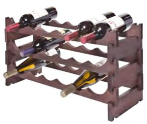 18 Bottle Stackable Wooden Wine Rack - Stained