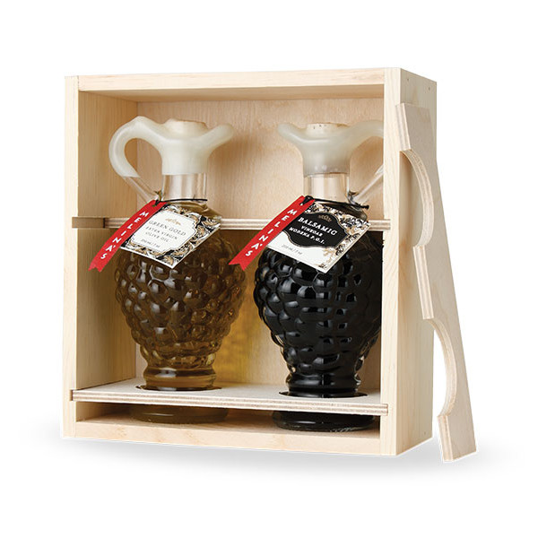 Amphora Grape Mediterranean Olive Oil & Balsamic Vinegar Wooden Gift Box Set (200ml)