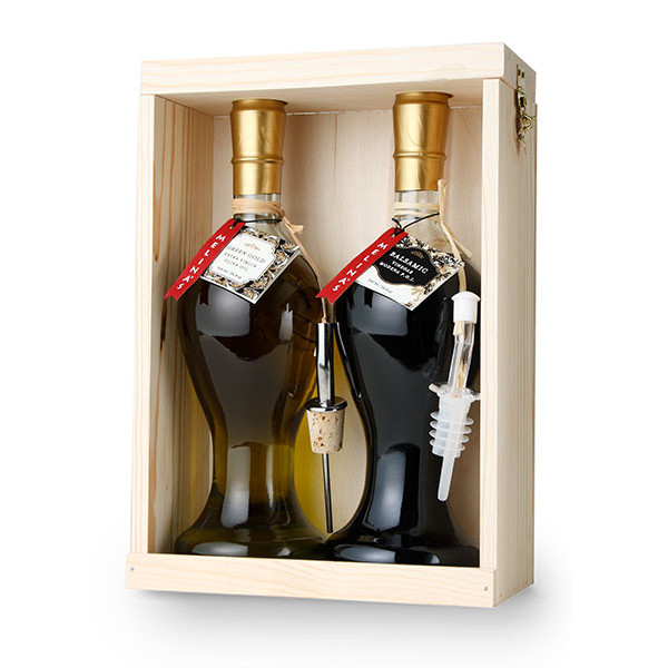 Mediterranean Olive Oil & Balsamic Vinegar Wooden Gift Box Set (500ml)