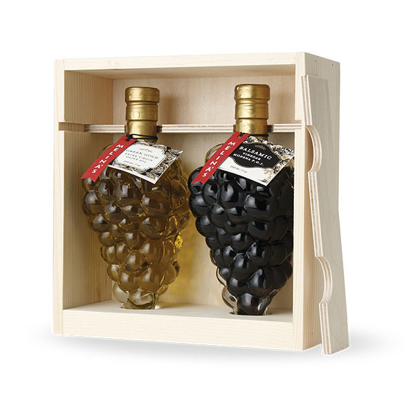 Grape Cluster Mediterranean Olive Oil & Balsamic Vinegar Wooden Gift Box Set (250ml)