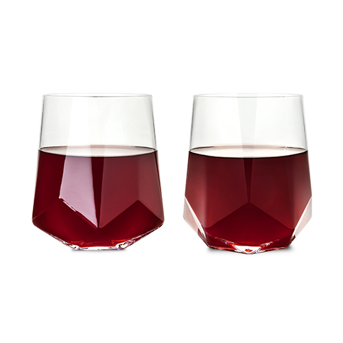 Raye Faceted Crystal Wine Glasses