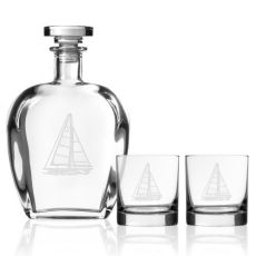 Sailboat Decanter OTR set of 3 in Gift Box