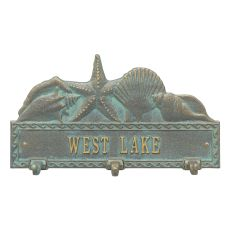 Personalized Sea Shell Hook Plaque, Bronze / Verdigris