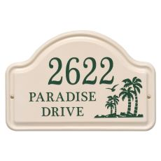Personalized Palm Ceramic Arch, Bristol Plaque With Green Etching