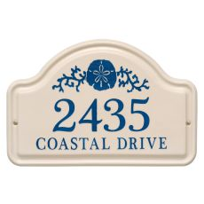 Personalized Sand Dollar Arch Plaque, Bristol Plaque With Dark Blue Etching