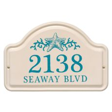 Personalized Star Fish Ceramic Arch Plaque, Bristol Plaque With Sea Blue Etching