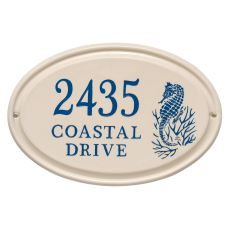 Personalized Sea Horse Ceramic Oval Plaque, Bristol Plaque With Dark Blue Etching