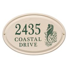 Personalized Sea Horse Ceramic Oval Plaque, Bristol Plaque With Green Etching