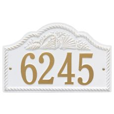 Personalized Rope Shell Arch Plaque Wall, White / Gold