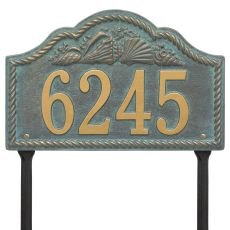 Personalized Rope Shell Arch Plaque Lawn, Bronze Verdigris