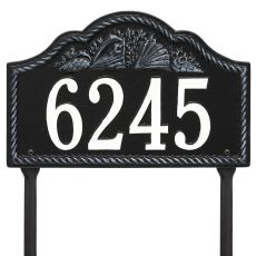 Personalized Rope Shell Arch Plaque Lawn, Black / White