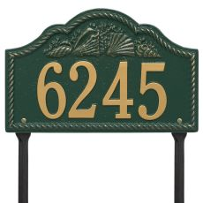 Personalized Rope Shell Arch Plaque Lawn, Green / Gold
