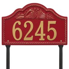 Personalized Rope Shell Arch Plaque Lawn, Red / Gold