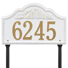 Personalized Rope Shell Arch Plaque Lawn, White / Gold