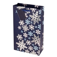 2-Bottle Blue Snowflake Bag