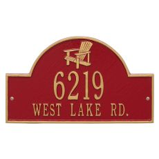 Personalized Adirondack Arch Plaque, Red / Gold