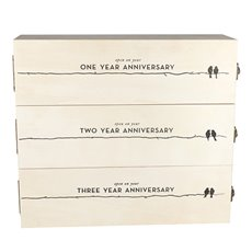 Boulevard Newlywed's Anniversary Wooden Wine Box