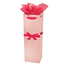 Elegant Pink Polka Dot Wine Bag by Cakewalk
