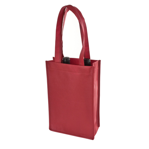 2 Bottle Non Woven Tote In Red