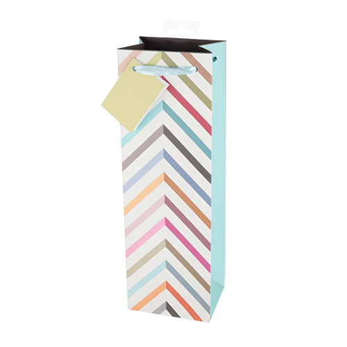 Pastel Chevron Wine Gift Bag