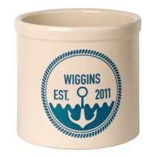 Personalized Anchor Established Crock, Bristol Crock With Sea Blue Etching