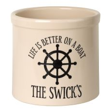 Personalized Life Is Better On A Boat Crock, Bristol Crock With Black Etching